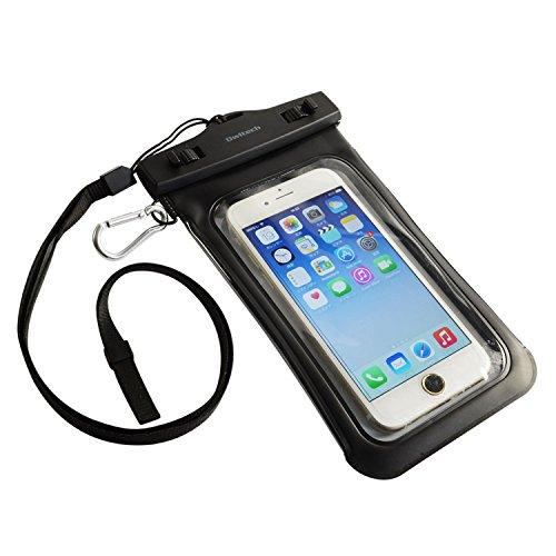 オウルテック 防水・防塵ケース もしもの時でも安心メーカー保証 ドライバッグ 両面透明 海/釣り/お風呂 iPhone 6s/6sPlus等対応 最高級保護レベルIP68取得 ネックストラップ カラビナ付 ブラック OWL-MAWP07BK