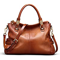 AINIMOER Womens Genuine Leather Vintage Tote Shoulder Bag Top-handle Crossbody Handbags Large Capacity Ladies' Purse