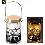 LEDグラスボトルジャー クリスマス ライトアップ 電飾 ブラック ゴールド