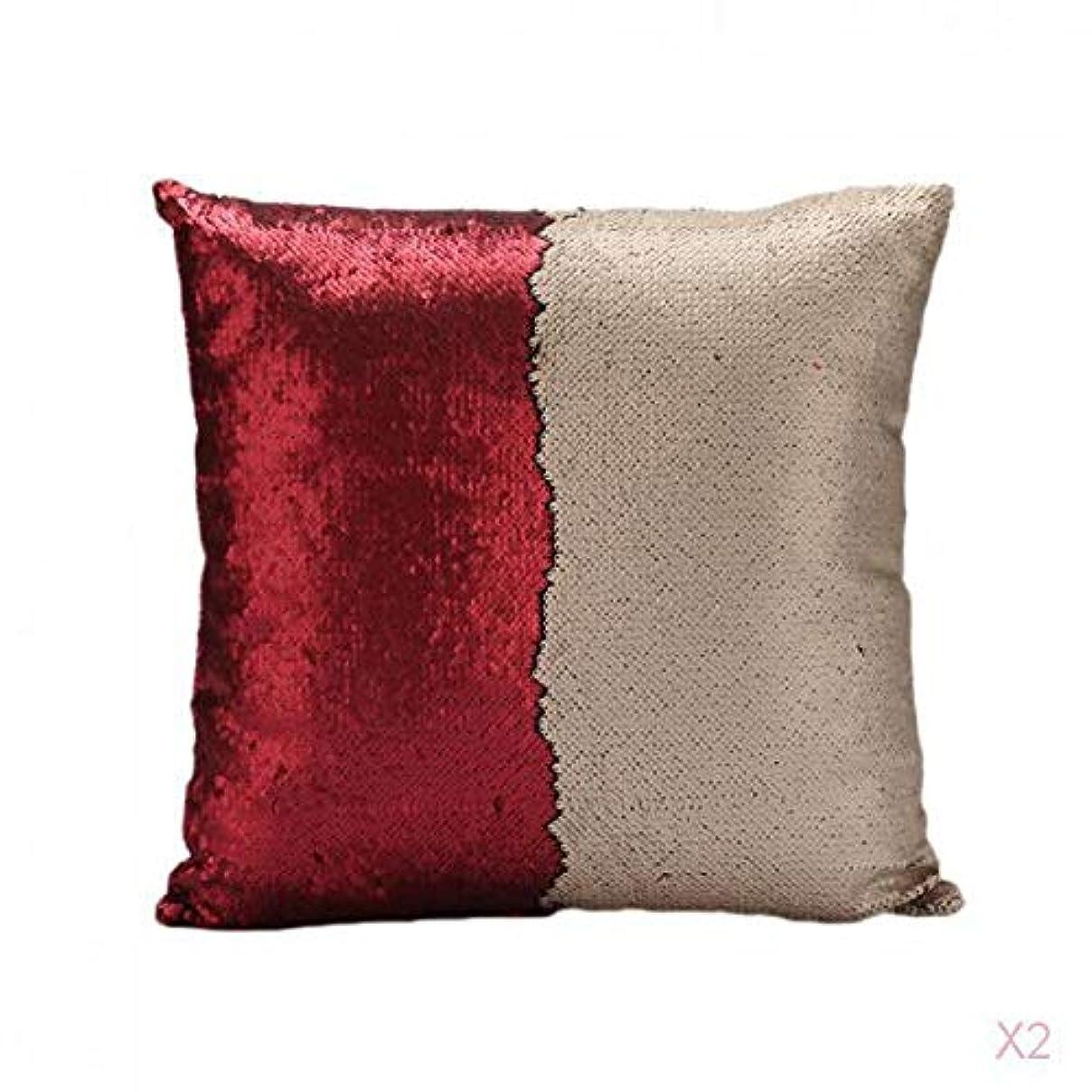 リーフレット運命的なシャッター赤可逆スエードスパンコールソファ腰クッションカバーベッドの枕カバースリップ