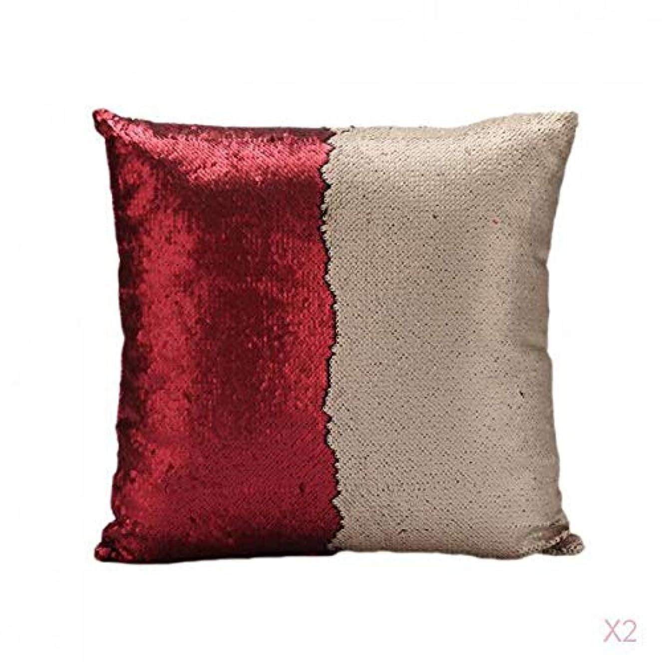 リア王アンティーク噴火FLAMEER 赤可逆スエードスパンコールソファ腰クッションカバーベッドの枕カバースリップ