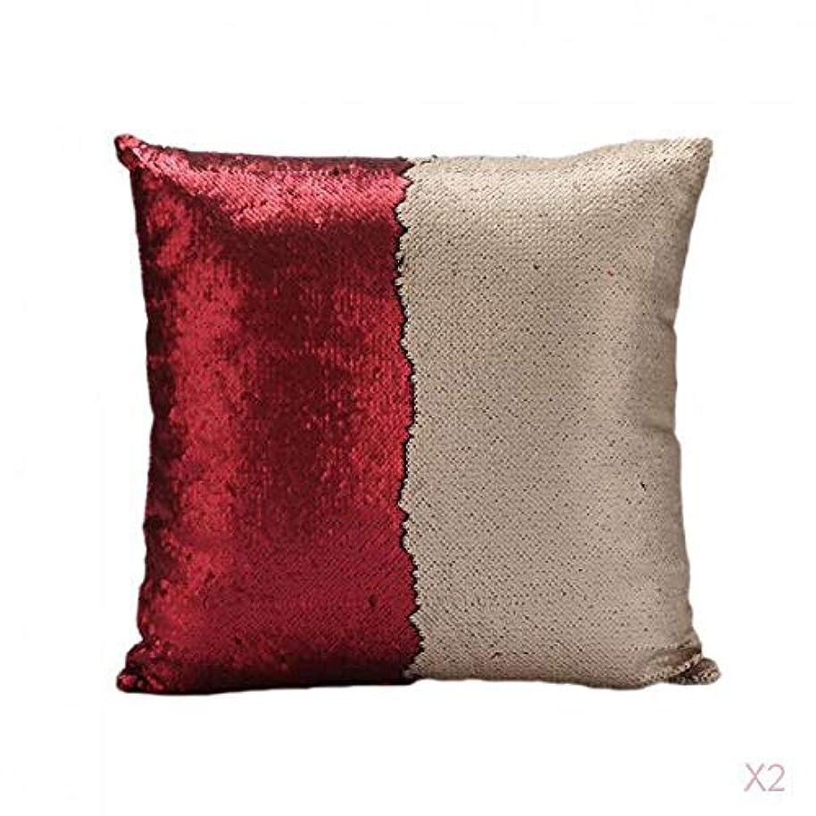 探検利得感染する赤可逆スエードスパンコールソファ腰クッションカバーベッドの枕カバースリップ