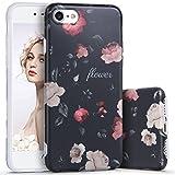 Imikoko iPhone7ケース iPhone8 ケース アイホン7ケース スマホケース 保護カバー 花柄 おしゃれ 人気 かわいい ソフト 女子 携帯case (iPhone7 4.7, 黒薔薇柄)