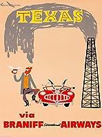 テキサス・オイル・ウェルビンテージアメリカの旅行広告ポスター 10 x 13.5 [並行輸入品]