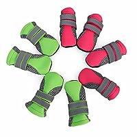 Xiongdeisix 発光ストラップ ペット シューズ発光通気性メッシュ犬の靴ウォーキング シューズ サイズ犬ペット用品 (色 : Green [spot 4 packs], サイズ : M)