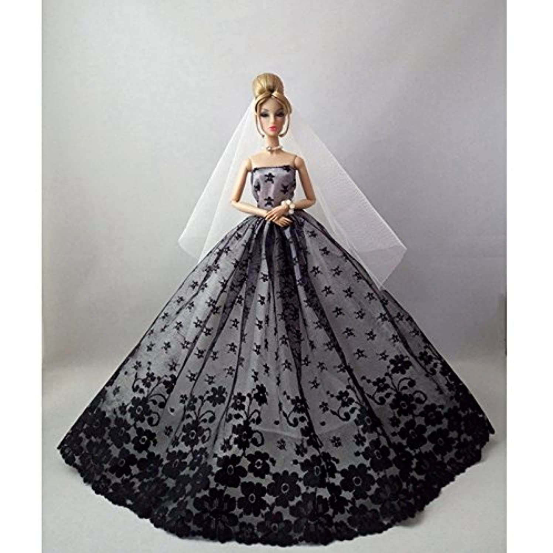 DSstyle 1 Pcs Party Costume Clothing Flower Wedding Dress Princess Evening Dress Black for Barbie Doll