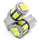 T10 LED ホワイト ポジション 2個セット ナンバー灯 ルームランプ バニティランプ カーテシランプ W5W 白 5630SMD 8連 DC 12V ウェッジシングル球 イルミクラフト