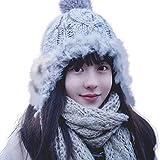 wemitas 帽子 レディース 秋冬 ニット帽 耳あて ポンポン あったかい 防寒 ファー付き (グレー)