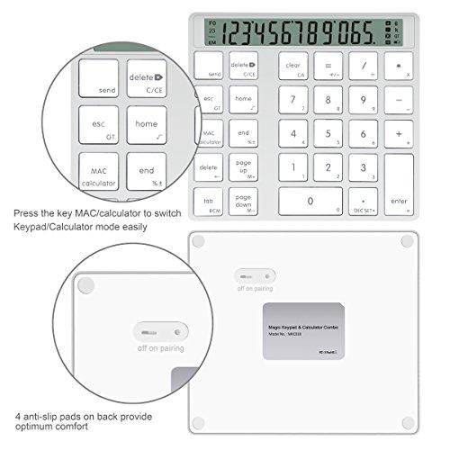 Cateck アルミニウム製 電卓機能付きワイヤレス 28キーのスマートテンキー/数字キーッパッド、MacとPC向けのデザイン (充電式)