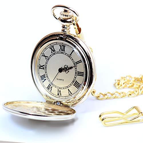 ディモード(Démodé) 懐中時計 アンティーク 開閉式 チェーン付属 蓋付き アナログ時計 懐中 時計(ゴールド)