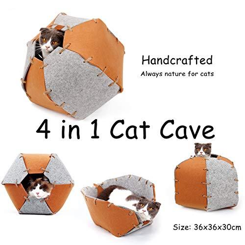 Petneces猫の家ペット折りたたみベッドの洞窟の人は睡眠の多機能のおもちゃをするための家を作りました (ブラウン)
