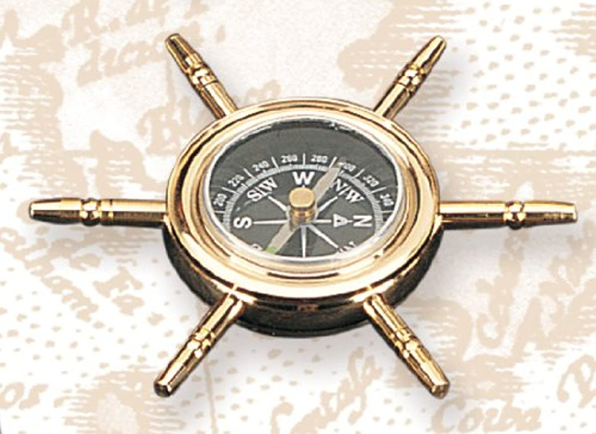 尽きる一月ハング10.2cm Polished Brass Ship Wheel Compass