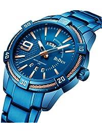 腕時計 メンズ スポーツビジネスカジュアルファッション 多機能 ステンレス鋼 防水 クロノグラフクォーツ時計 (ブルー)