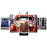 キャンバスウォールアートFORDハングに木造の準備とクラシックカーの写真ポスター5パネル,4x6in*2+4x8in*2+4x10in*1