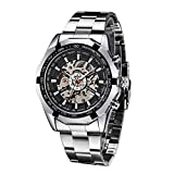 メンズ 腕時計 機械式 自動巻き 透かし彫り ステンレススチールバンド 防水ウォッチ ビジネススタイル ブラック