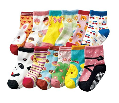 (エレキモチーブ) ElecMotive 12足組 女の子 可愛い模様 子供 靴下 ソックス 滑り止め 綿 6-36月