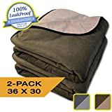 "100% Leak Proof, Waterproof, See Video, Totally Pee Proof, 3 Layer Blanket, Baby, Adults, Pets, Dogs, Cats, Cozy Soft, Reversible Chocolate Brown/Lt Mocha (2-Pack 36"" x 30"")"
