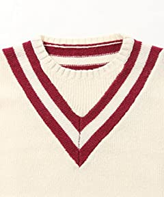 Beams Plus Crewneck Cricket Sweater 11-15-0362-103: White / Wine