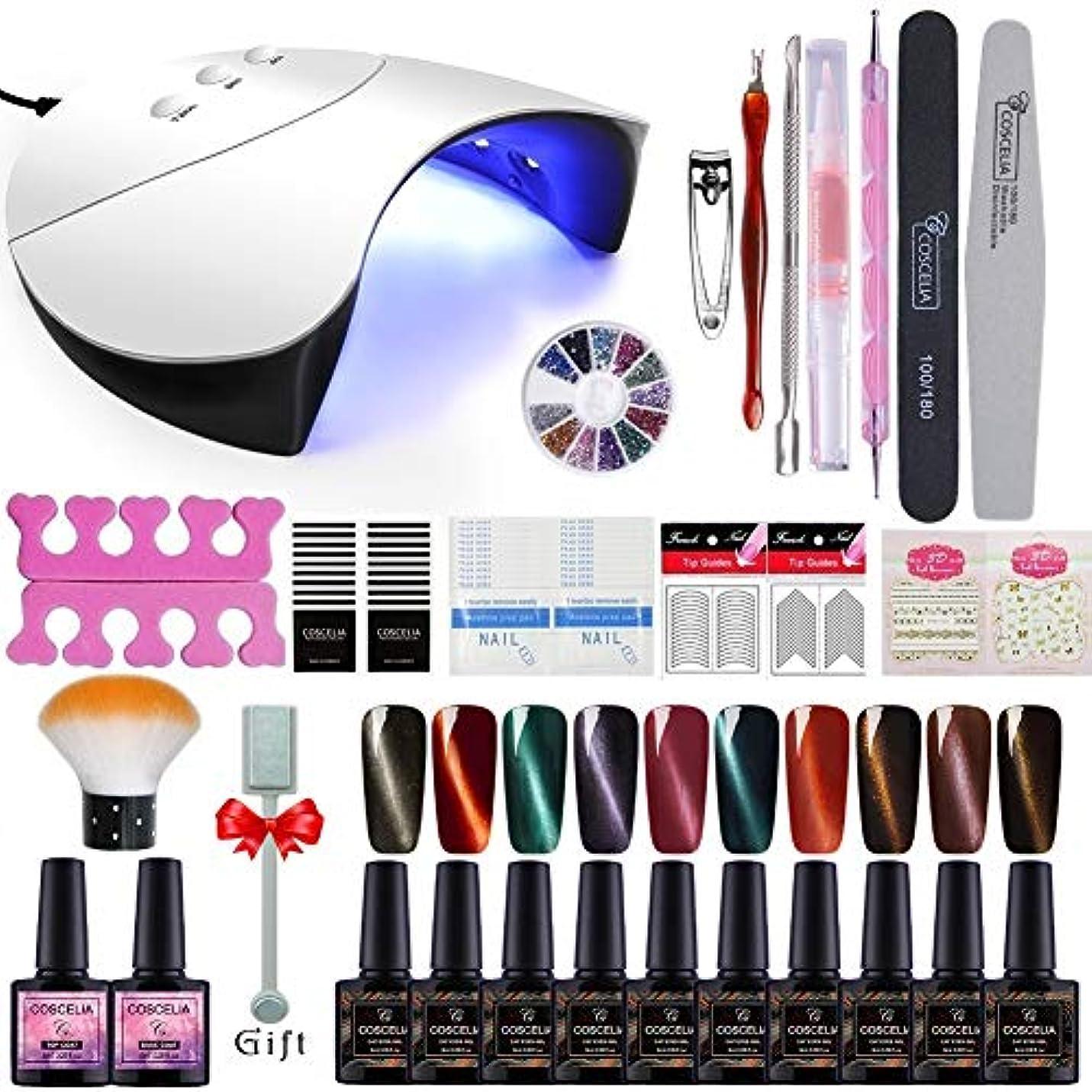 Twinkle Store ジェルネイルカラー 10色套装 キャットアイジェル 36Wネイルuvライトセット 猫の目のように効果 磁石で模様が変わる、 ネイルパーツキット マニキュアセット
