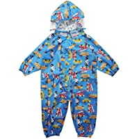 WHT Kids One Piece Rainsuit Coverall Baby Waterproof Jumpsuit (1-7 Years)