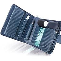 BLUE SINCERE アイコスケース 手帳型 2本収納 iQOS CASE 2.4Plus 対応 予備ホルダー カード 小銭 収納可能 メンズ レディース (カーボンレザー ネイビー )IC1cn
