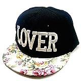LOVER BBキャップ 花柄 B系 ストリート ファッション 男女兼用 (ホワイト)