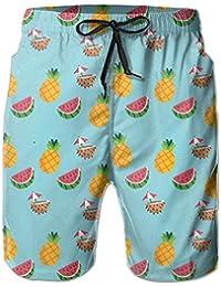 果物 パイナップル スイカ メンズ 軽量 サーフパンツ ハワイ風 スイムウェア メッシュインナー付き White