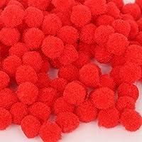 Baoblaze ふわふわ ポンポン 手作り 材料 工芸品 裁縫 装飾 手業用 ボール 18mm  約200個 全9色選べ  - 赤