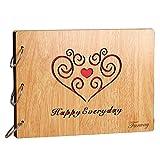 Farway アルバム 木製 スクラップブック DIY 手作り ルーズリーフ式 多様柄 リング3本付き 27*20cm (Happy Everyday) [並行輸入品]