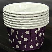 Happy_Child 100枚入り カップケーキ型 マフィンカップ ベーキングカップ 金型 ラッパーペーパー パープルドット【サイズ:50x38x30mm】