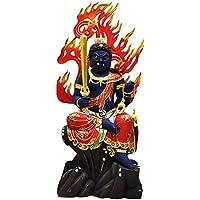 迫力木彫り仏像 ☆楠木極彩色【不動明王半跏像】 坐7.5寸 総高62cm