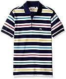 ラコステ ポロシャツ Lacoste Boys' Short Sleeve Multi Color Stripe Polo Shirt penumbra/Multico 4 [並行輸入品]