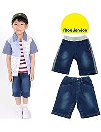 【子供服】 moujonjon (ムージョンジョン) デニムニット型込6分丈パンツ 80cm~130cm M37183
