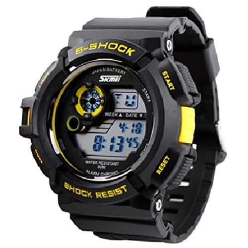 SKM 腕時計 ブランド メンズ ボーイズ 男の子 デジタル表示腕時計 登山用多機能腕時計 LEDライト ファッション防水 ウォッチ かっこいい スポーツウォッチ アラームウォッチ クロノグラフ ストップウォッチ
