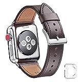WFEAGL コンパチブル Apple Watch バンド,は本革レザーを使い、iWatch Series4/3/2/1、Sport、Edition向けのバンド交換ストラップです コンパチブル アップルウォッチ バンド (38mm 40mm, ダークコーヒー バンド+シルバー 四角い バックル)