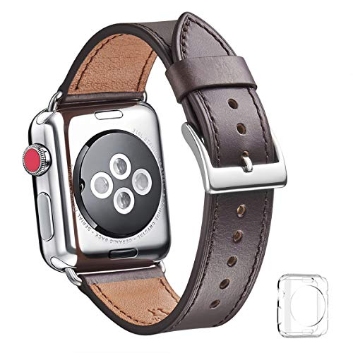 WFEAGL for Apple Watch バンド,は本革レザーを使い、iWatch Series 3、Series 、Series 1、Sport、Edition向けのバンド交換ストラップです (42mm, ダークコーヒー バンド+シルバー 四角い バックル)