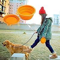 Droxie(TM)ポータブルシリコーン折りたたみTravelは、ボウルの水皿フィーダ犬の子犬を食べさせます