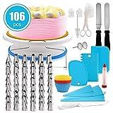 ケーキサーバー 106pcsケーキ 回転台 裱花台 ケーキターンテーブル 裱花嘴 ケーキターンテーブルセット ケーキの装飾 フォンダントツール ケーキ用具 ベーキング用品