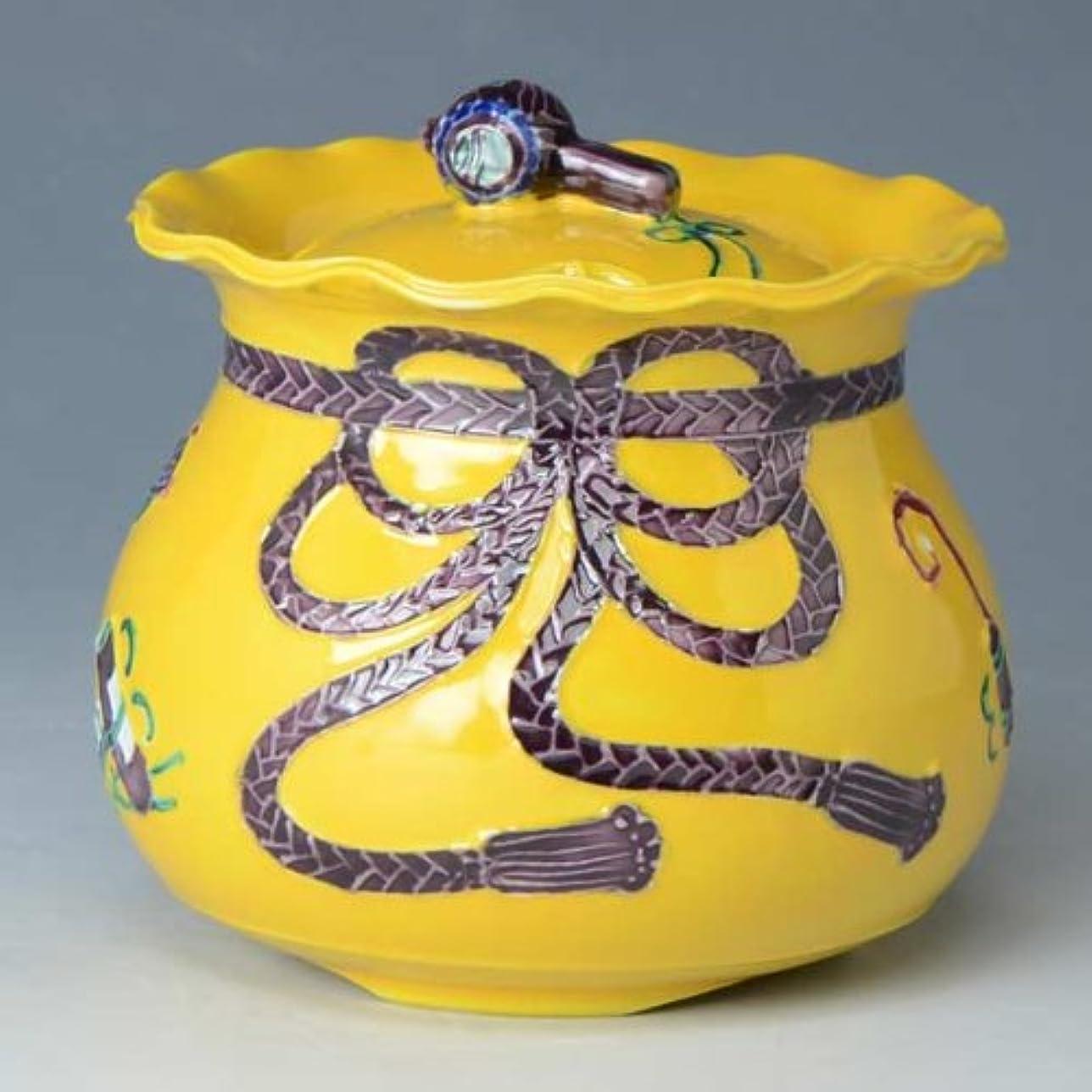 トロピカル定期的にアジア京焼 清水焼 香炉 黄交趾宝袋 きこうちたからぶくろ YKE119