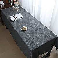 褪色防止テーブルカバー テーブルクロステーブルクロスコーヒーテーブルコットンとリネン布カバー布大サイズレトロ日本のテレビキャビネット 多目的テーブルクロス (Color : Dark gray, Size : 260*130cm)