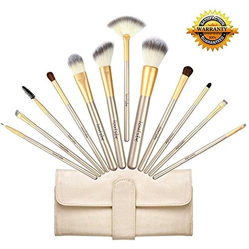 海外人気Loutsbeメイクブラシフルセット,化粧筆 フェイスブラシ 高級(12本セット、シャンパンゴールド)