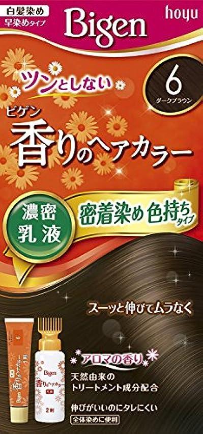 告発これまでシャーロットブロンテホーユー ビゲン香りのヘアカラー乳液6 (ダークブラウン) 40g+60mL ×6個