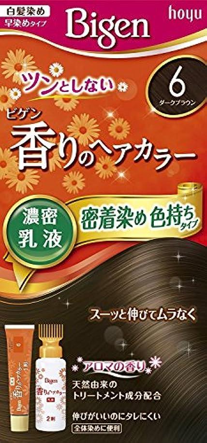 ニュースしつけ続けるホーユー ビゲン香りのヘアカラー乳液6 (ダークブラウン) 40g+60mL ×6個
