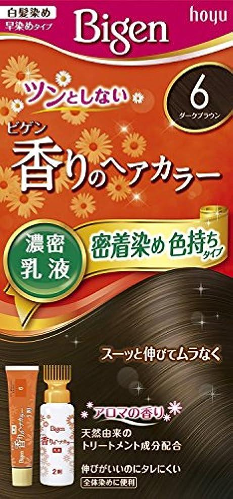 ブレース証言するプレミアホーユー ビゲン香りのヘアカラー乳液6 (ダークブラウン) 40g+60mL ×6個