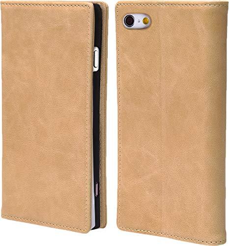 steady advance 最高級 本革 (牛革) iPhone6 iPhone6s アイフォン6 用 スマホ ケース 手帳型  硬度 9H 強化 ガラスフィルム  セット マグネット式 ソフトレザー (iPhone 6s, カメオベージュ)