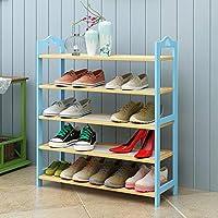 靴箱_4/5/6層ヨーロッパ多機能ラック(複数選択可)青