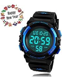 腕時計 子供用 TAKU STORE 腕時計 デジタル 防水 キッズ ウォッチ 男の子 多機能 ボーイズ 誕生日 入学 プレゼント 日本語説明書付き ブルー2