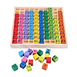 Education Wooden Toy Set, Multiplication Table Toy 10 * 10 Figure Blocks Table Kids Baby Blocks Puzzle Best Gift for a Child's Birthday