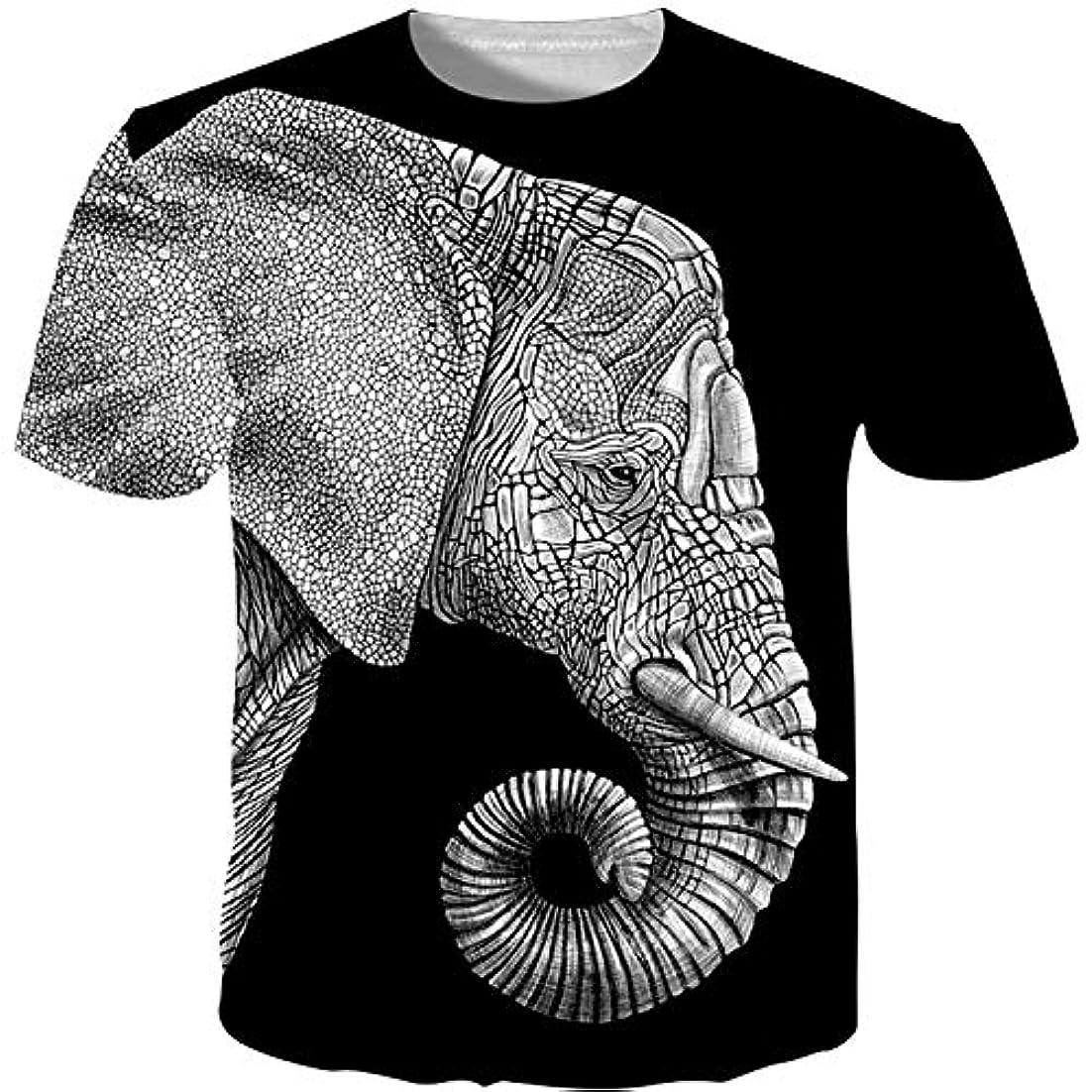 ペパーミント嫌がる略すTシャツ メンズ 半袖 創意デザイン 象柄 3Dプリントトップス ゆったり スポーツ 日常用 男女兼用 夏服 大きなサイズ