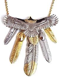 人気 メンズ ブランド SBG イーグル 5枚 フェザー ネックレス 金 銀 羽根 ペンダントトップ インディアンジュエリー